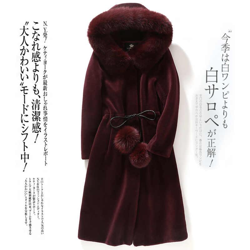 Real Jas Vrouwelijke 100% Wollen Jas Vrouwen Winter Kleding 2020 Koreaanse Natuurlijke Vos Bont Schapen Scheren Jassen Hiver 00018