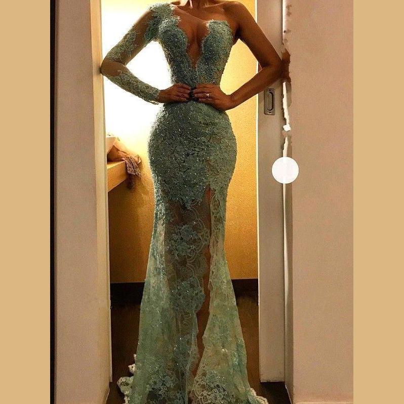 Robe De Soiree Light Green Lace Mermaid Evening Dresses Long 2020 One Shoulder Sequin Formal Dresses Vestido Plus Size