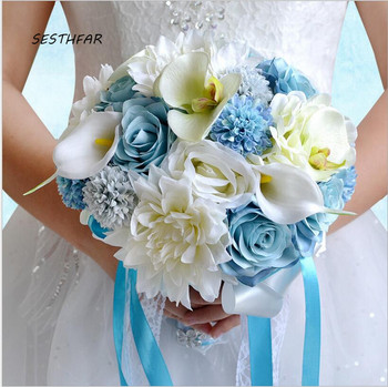 Artificial Blue White Bridal Bouquets Wedding Flowers Simulation Succulents Bouquet Bridesmaid Holding Flower SPH053