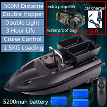 180minis life 500m Distance Double Hopper RC Fishing Bait boat With 3pcs 5200mah boat battery free car charger waterproof bag to