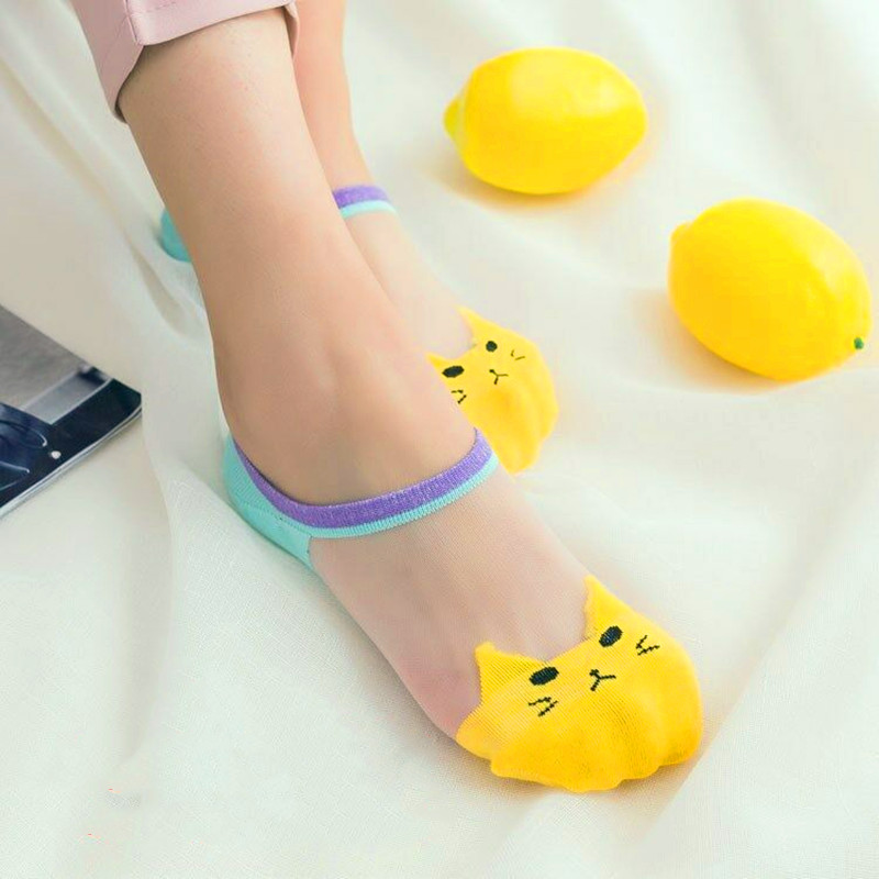 5 Pairs Summer Cartoon Cat Socks Cute Animal Women Socks Funny Invisible Socks Female Cotton Transparent Boat Socks Dropship