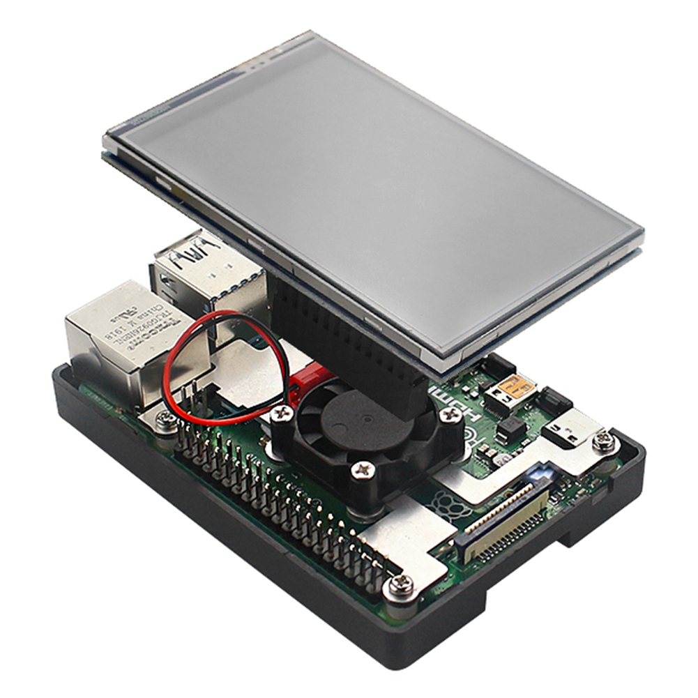 3.5 inch TFT Touch Screen Display Monitor with Case Fan Radiator Support for Raspbian/Ubuntu/Kali Linux for Raspberry Pi 4B