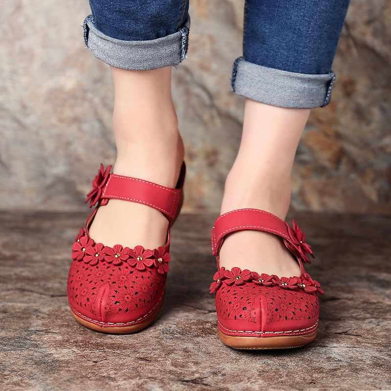 SHUJIN kadın sandalet 2020 yaz el yapımı bayanlar ayakkabı deri çiçek sandalet kadın daire Retro tarzı ayakkabı kadın