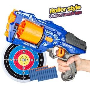 2020 New Arrival Rotate Barrel Manual Soft Bullet Gun Suit for Nerf Bullets Toy Pistol Gun Dart Blaster Toys for Children(China)
