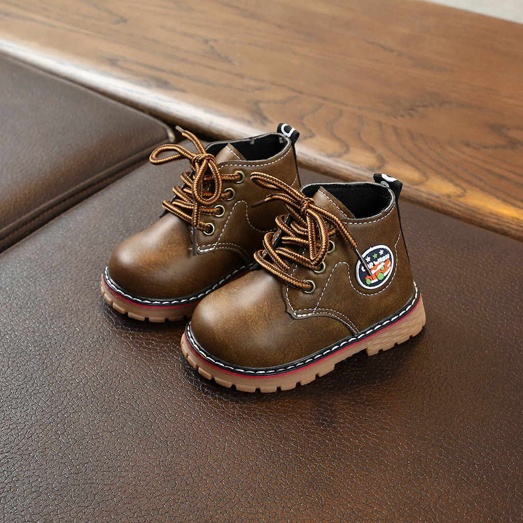 Kids Herfst Baby Jongens Pu Lederen Schoenen Voor Kinderen cool Laarzen Meisjes Mode Martin Laarzen Peuter Ieather Laarzen Zwart Bruin grijs