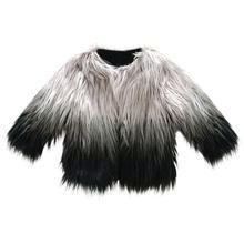 Осенне-зимнее теплое пальто из искусственного меха для маленьких девочек модная куртка с длинными рукавами милая плотная одежда с новым брендом