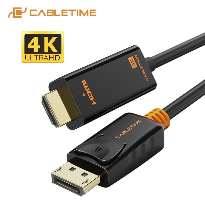 CABLETIME DisplayPort do HDMI kabel 4k hdmi kabel DP do HDMI 1080P/4K 60hz konwerter DP 1.2 dla projektor HDTV Laptop PC C072