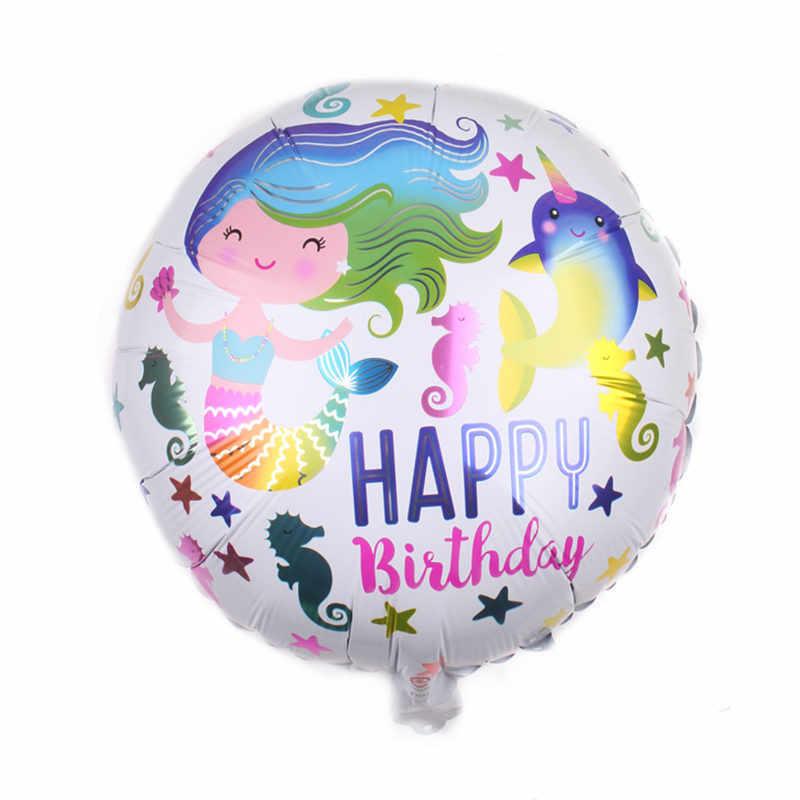 1pcs Mermaid Princess ฟอยล์บอลลูน Ariel การ์ตูนเจ้าหญิงบอลลูนฮีเลียมเด็กตกแต่ง globos ปาร์ตี้อุปกรณ์