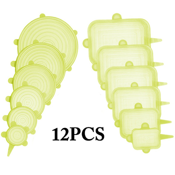 12pcs Reusable Silicone Food Cover Elastic Stretch Adjustable Bowl Lids Universal Kitchen Wrap Seal Fresh Keeping Silicone Caps - Yellow 12pcs