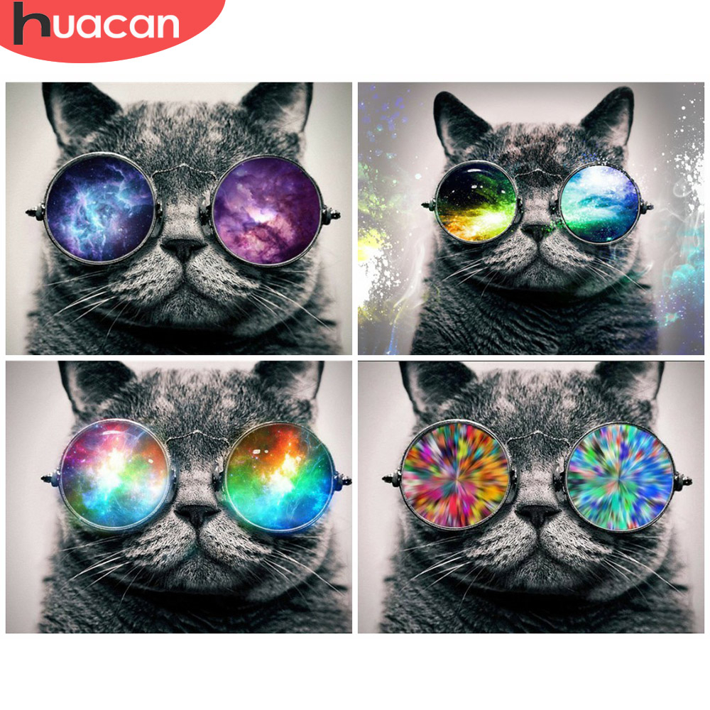 HUACAN Pictures By Number Cat Animal Drawing On Canvas HandPainted Art Gift DIY Oil Painting By Number Kits Home Decoration