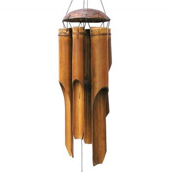 Bambusowy dzwonek wietrzny s duży dzwonek tuba drewno kokosowe ręcznie wewnątrz i na zewnątrz ściany wiszące dzwonek wietrzny dekoracje # W0 tanie i dobre opinie CN (pochodzenie) MASKOTKA Z tworzywa sztucznego Nowoczesne Mascot Bamboo Antique Imitation handmade wind chimes outdoor garden large deep tone