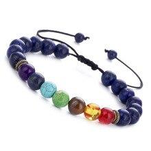 Classic Chakra Seven Colors Black Lava Stone Bead Bracelets for Men Women Charm Adjustable Hand Jewelry Gift DropShipping