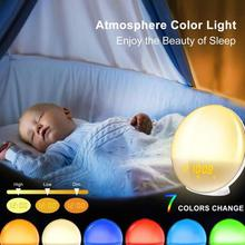 Wake Up Light Digital Alarm Clock LED Electronic Simulated Sunrise Sunset Nature Sleep Music Colorful Night