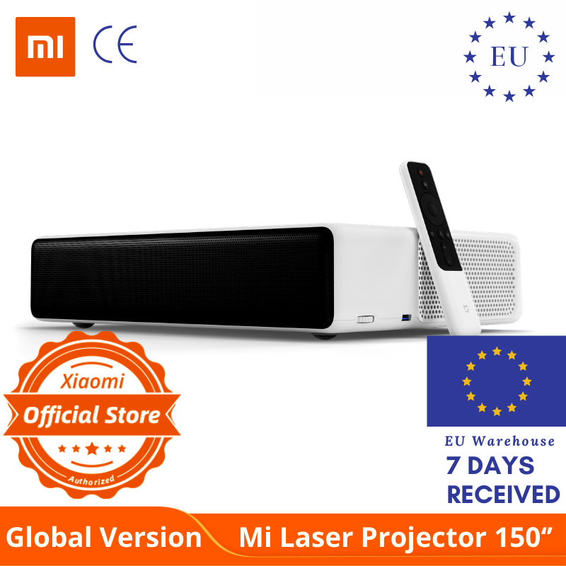 """Global Version XIAOMI Mi Laser Projector 150"""" UST Android TV 4K Laser Cinema Picture 5000 Luma Brightness DOLBY DTS"""