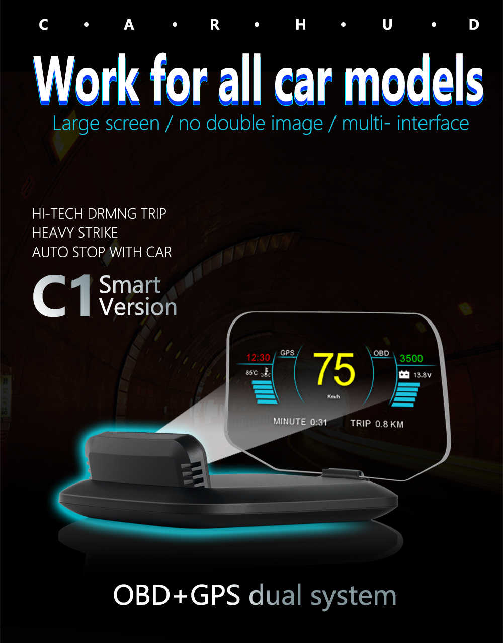 Newest Universal C1 OBDII 2 +GPS Dual Mode Auto Car HUD Head Up Display Speedometers Overspeed Warning Project HUD for All Cars