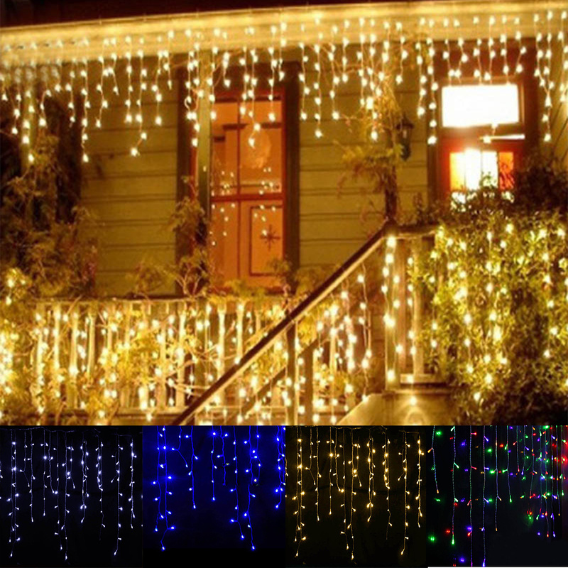 Garland Christmas LED Curtain Icicle String Fairy Light 5M 96Leds Droop 0.3-0.5M Outdoor holiday party luces led decor(China)