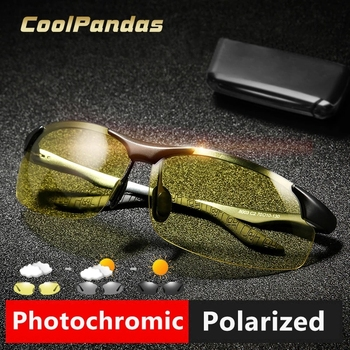 CoolPandas Photochromic Aluminum Magnesium Sunglasses Polarized Men Day Night Safety Driving Sun Glasses Male Anti-Glare Lens classic vintage photochromic sunglasses men polarized sun glasses driving eyewear male night vision change color lens anti glare