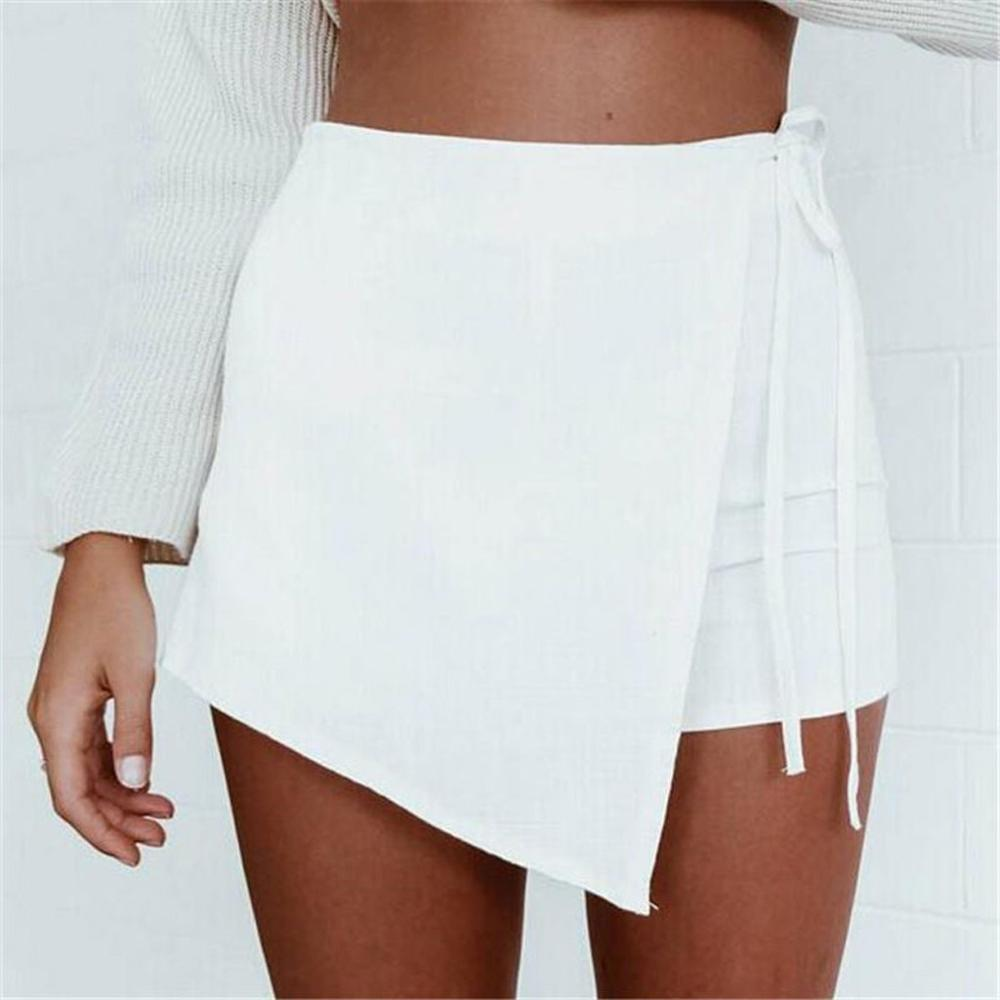 Solid-Shorts Linen Lace-Up Irregular High-Waist Cotton Casual Fashion Summer Women And title=