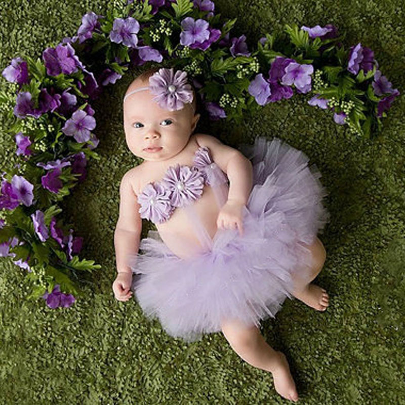 Top Sale Baby Girl Tulle Tutu Skirt And Flower Headband Set Newborn Photography Props Baby Birthday Gift Photo Props Baby Gift