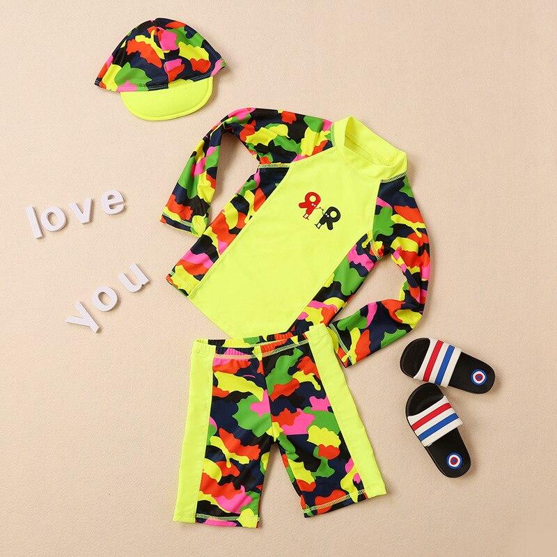 South Korea New Style Children Girls Diving Suit Cute Long Sleeve Sun-resistant UV-Protection Two-piece Swimsuits Children Paren