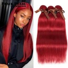 Черный жемчуг, бразильские пучки прямых и волнистых волос, человеческие волосы для наращивания, от поставщиков, 8 до 28 дюймов, Remy, красные, человеческие волосы, пряди