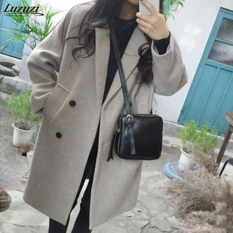 Luzuzi New Women Woolen coat Warm Long Sleeve Turn-down Collar Outwear Jacket Ladies Autumn Winter Casual Elegant Overcoat