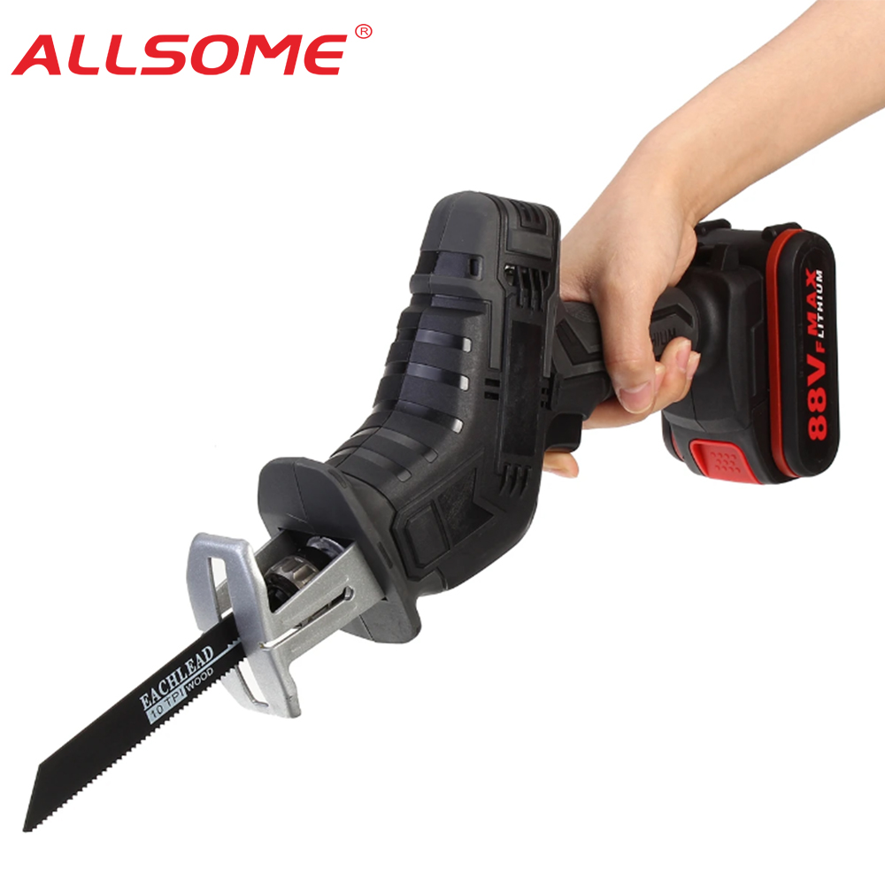 ALLSOME 88VF Cordless Reciprocating Saw Electric Saw Chainsaw with Saw Blades Metal Cutting Woodworking HT2956