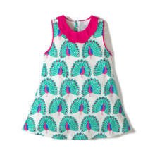 Children Girl Sleeveless Dress Floral Peacock Cotton Collar Baby Clothes for Party Fashion Summer