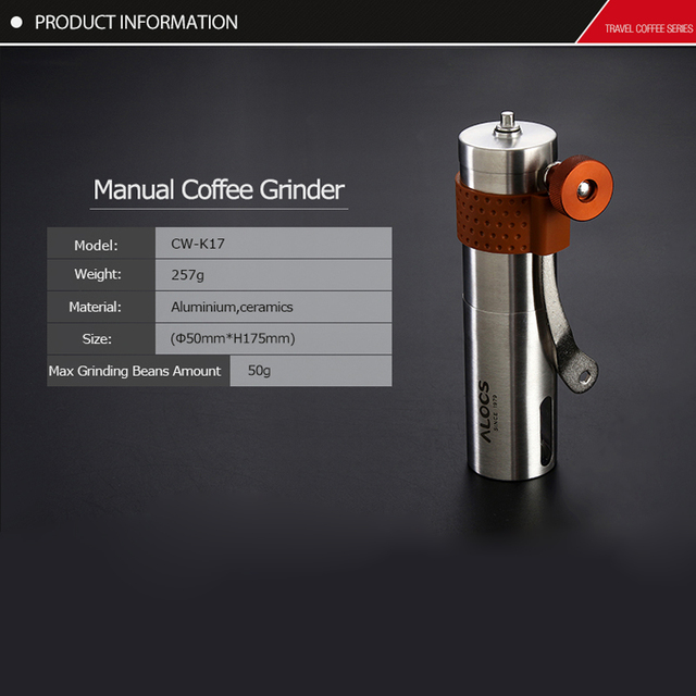 Alocs CW-K17 Travel Manual Coffee Grinder Maker Conical Burr Mill With Adjustable Setting Portable Hand Crank Coffee Grinder 2