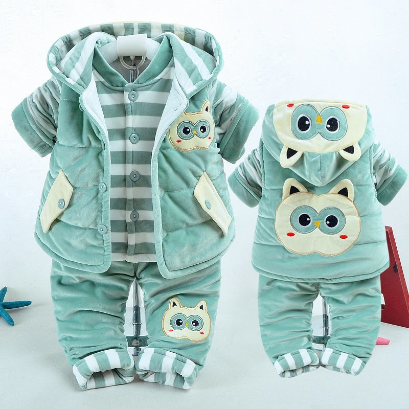 Fund 0 One 1-2 Year Baby 3 Three Paper Suit Woman Baby 6 Individual Month Newborn Winter Clothes Cotton-padded Clothes Serve