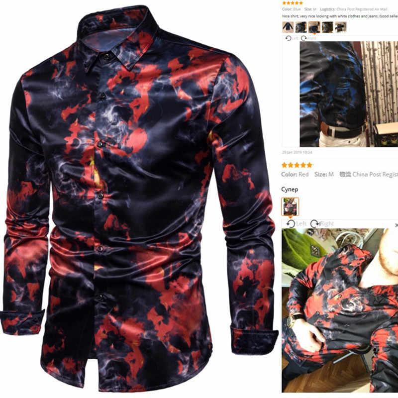 Moda rahat erkek gömlek uzun kollu sokak giyer kırmızı mavi alev baskılı üstleri resmi gömlek erkek giyim artı boyutu S-2XL