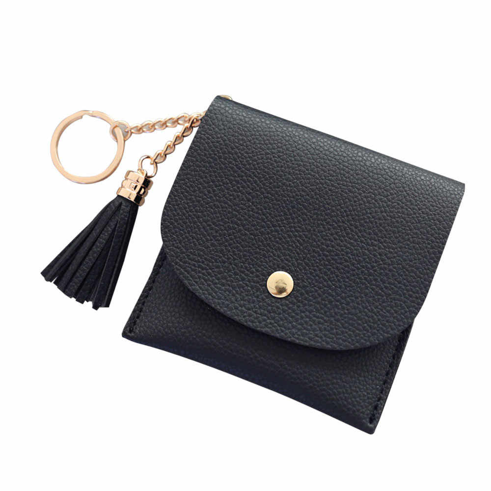 Men Leather Coin Purse Simple Tassel Short Wallet Coin Purse Card Holders tassel Handbag High quality Brand Female Wallet #ZA
