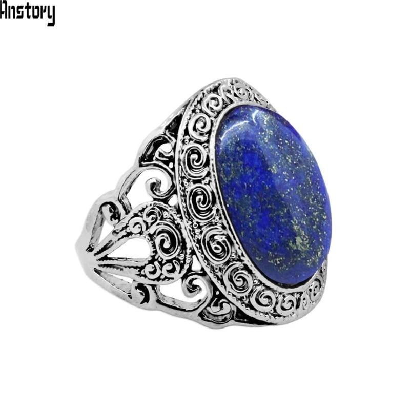 Natural Lapis Lazuli Silver Plated Ring