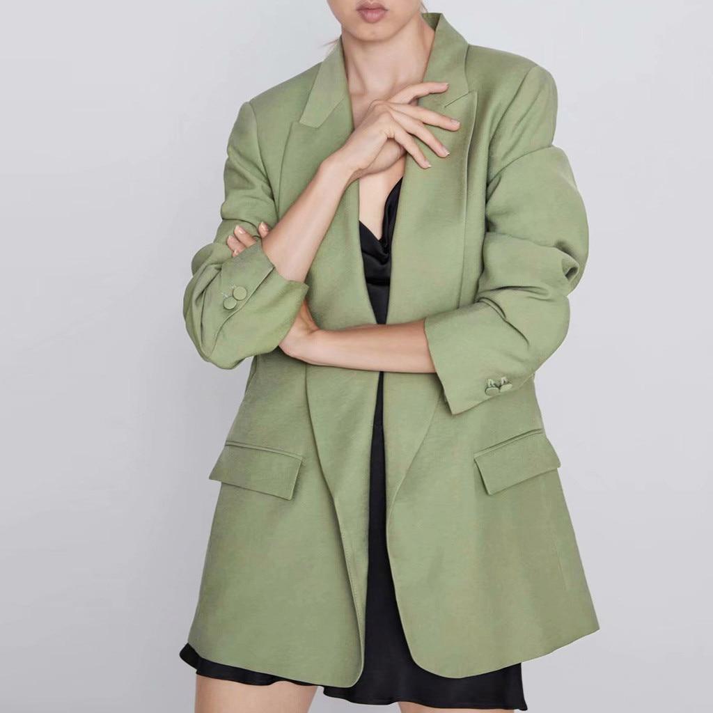 Femmes classique bouton unique vert et rose à manches longues manteau élégant col rabattu poche Blazer veste femme costumes manteau