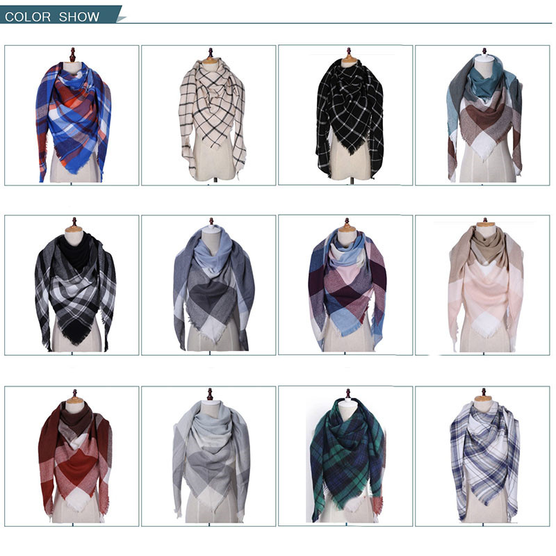RBROVO 2019 Fashion Winter Scarf Women Luxury Warm Plaid Cashmere Scarves Female Triangle Street Beat Tippet Echarpe Femme Hiver