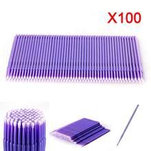 100 pçs/set Roxo Semi-permanente de Algodão Profissional Saco de Algodão Vara Cotonete Cotonete Remover Enxertia Pestana Pequeno Revestido Y9X5