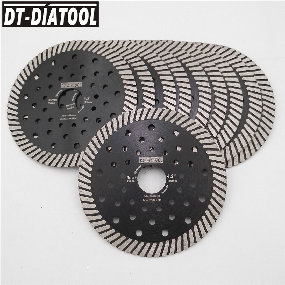 DT-DIATOOL 10pcs Dia 115mm/4.5 Inch Diamond Hot Pressed Narrow Turbo Saw Blades For Granite Marble Cutting Disc With Multi Holes