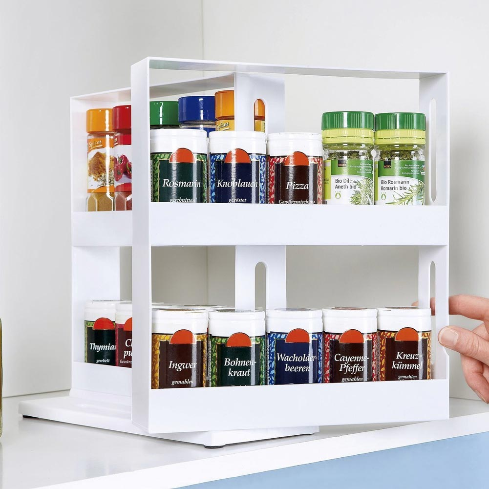 2 Layer Rotating Kitchen Organizer and Spices Jar Storage Rack for Storage of Jars and Bottles