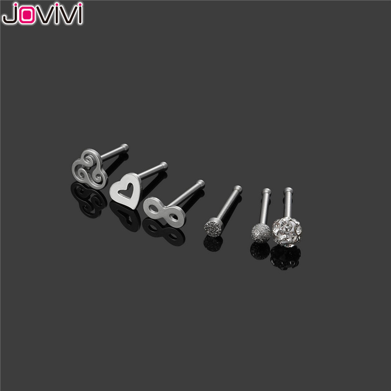 JOVIVI 6pcs Stainless Steel 20G Nose Ring Studs Bone Nostril Pin Straight Shape Bar Nose Piercing Jewelry Gold/Rose Gold