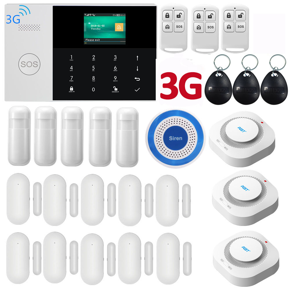 3G WIFI GPRS SIM SMS RFID Card  APP Remote Control Wireless Top Home Security Alarm System With 9 Languages Voice Alarm System