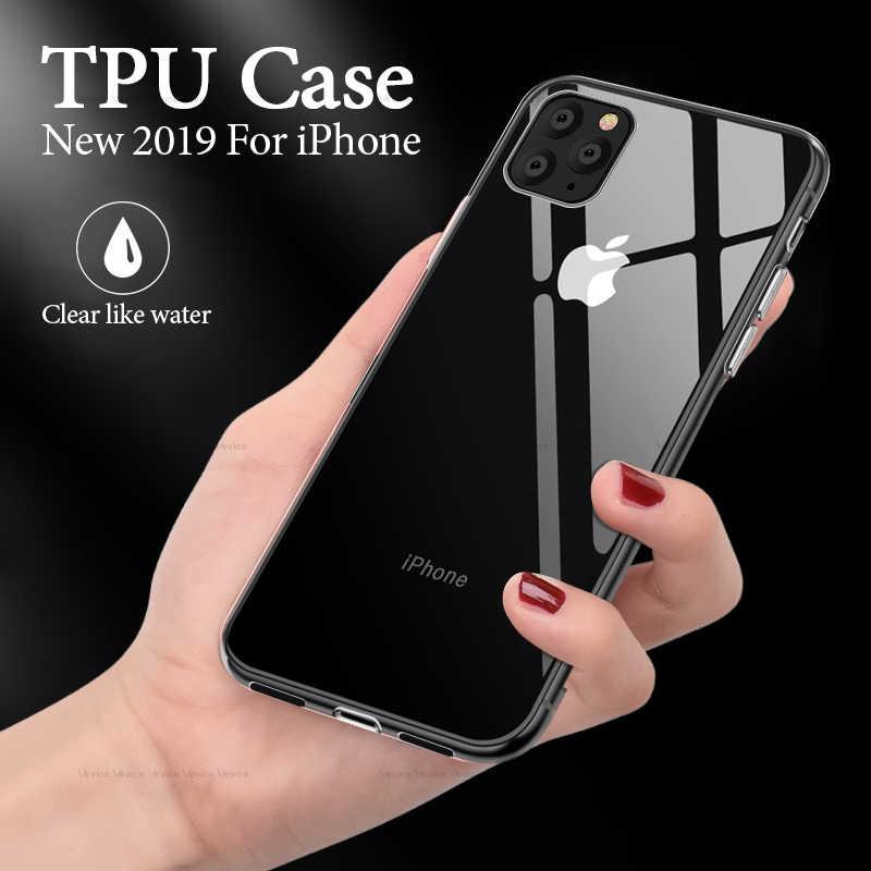 شفافة سيليكون حقيبة لهاتف أي فون 11 2019 11 برو ماكس واضح لينة TPU حالات غطاء ل فون XR X XS ماكس SE 5 6 S 7 8 زائد