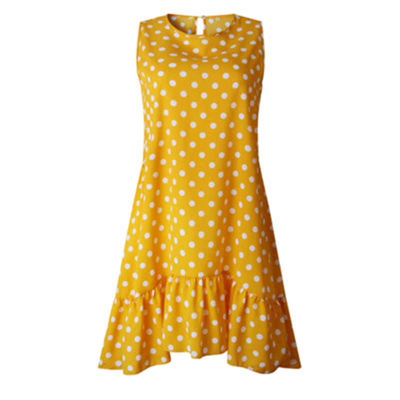 Polka Dot Dress Women 2019 New Summer Beach Casual Dress Plus Size Sleeveless Yellow Loose A-Line Midi Dresses Vestidos Clothing