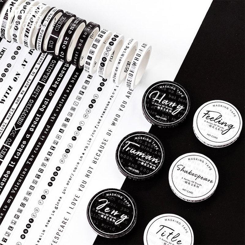 1 PC Black And White Washi Tape Art Journal Decoration Scrapbooking Masking Tape Wedding/birthday/bullet Journal Decoration