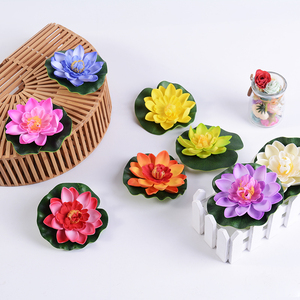 1pcs 10-30 Cm Real Touch Artificial Lotus Foam Flowers White Water Lily Floating Pool Plants For Wedding Garden EVA Decoration(China)