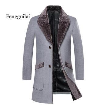 Woolen coat autumn and winter windbreaker men's Korean version of the self-cultivation long wool coat thick warm lapel