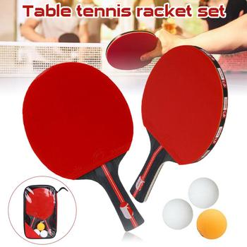 2pcs/lot Table Tennis Bat Racket Double Face Pimples In Long Short Handle Ping Pong Paddle Racket Set With Bag 3 Balls 2pcs ping pong racket table tennis blade long short handle pingpong bat set with 3 balls double face pimples in rubber blades