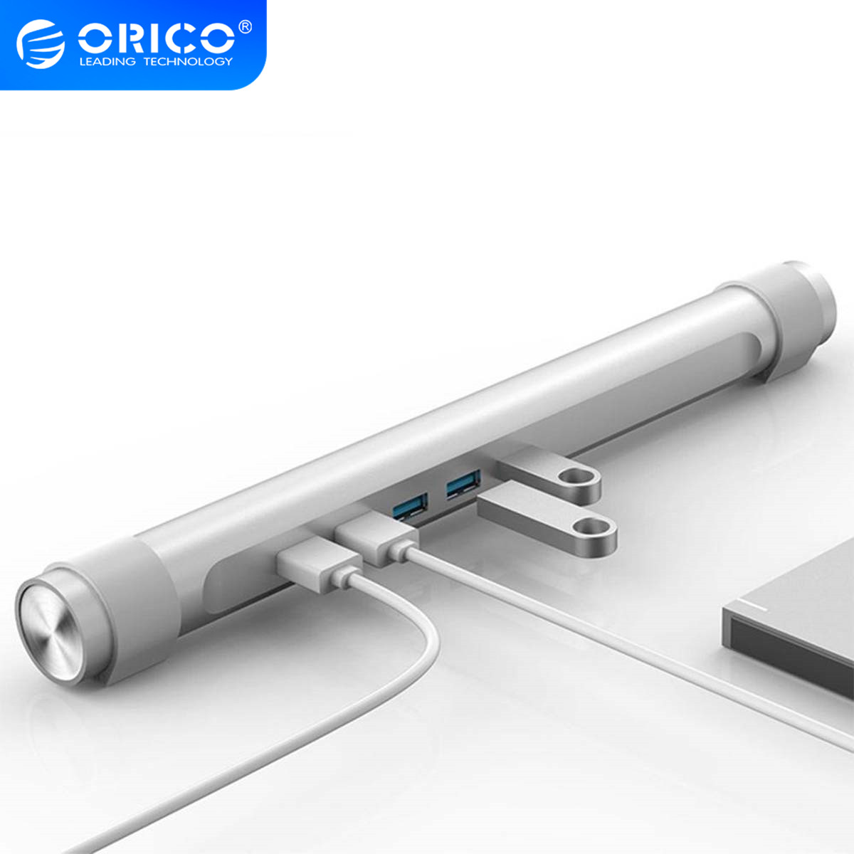 ORICO <font><b>4</b></font> <font><b>port</b></font> USB3.0 <font><b>HUB</b></font> with Laptop Holder Stand Function ABS Round <font><b>HUB</b></font> for Apple Laptop MAC Perfectly Silver <font><b>USB</b></font> Splitter image
