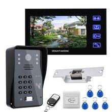 "7"" LCD RFID Password Video Door Phone Intercom System Kit + Electric Strike Lock + Wireless Remote Control unlock"