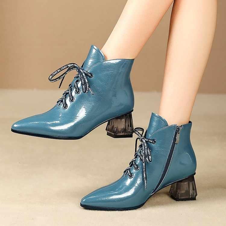 MLJUESE 2020 kadın yarım çizmeler patent deri mavi renk sivri burun kış kısa peluş yüksek topuklu kadın çizmeler boyutu 42 parti