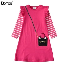 DXTON Princess Girl Dress 2019 Christmas Kids Party Stripe Winter Children Clothing Long Sleeve Girls Costume 3-8Y
